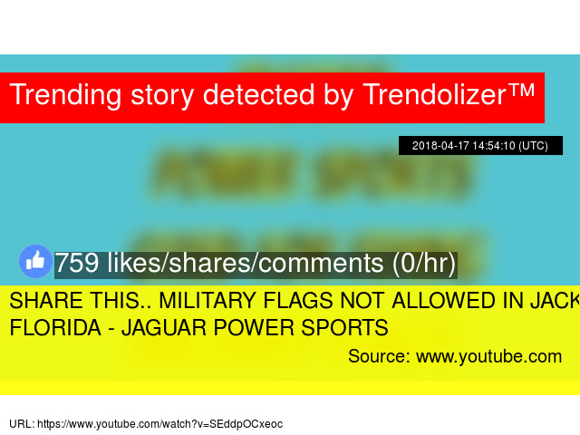 MILITARY FLAGS NOT ALLOWED IN JACKSONVILLE FLORIDA   JAGUAR POWER SPORTS    Stats